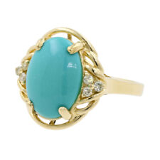 14k Yellow Gold Oval Turquoise Cabochon & Round Brilliant Diamond Cocktail Ring