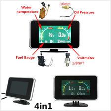 4in1 LCD Digital Display Voltmeter/Water Temp/Oil Pressure/Fuel Gauge For Cars