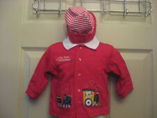 2 Piece Set Babys My First Christmas Red Shirt Top & Hat Train 3-6 Months NEW