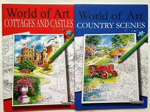 Brand New Adult Colouring Books x 2 - WORLD OF ART, COUNTRY / COTTAGES / CASTLES
