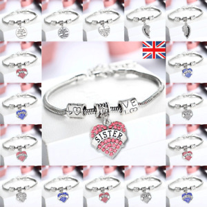 925 Sterling Silver Plated Bangle Bracelet Charm Lady Womens Jewellery Gift
