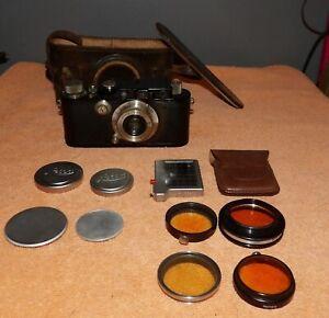 Rare 1933 Leica III Chrome Black 35mm Rangefinder Camera w/Elmar 50mm 3.5 Lens