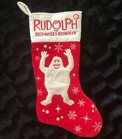 Rare Vintage Rudolph Red Nosed Reindeer Christmas Stocking Bumble Abominable