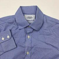 Charles Tyrwhitt Button Up Shirt Mens 15/33 Non Iron Slim Fit Blue Long Sleeve