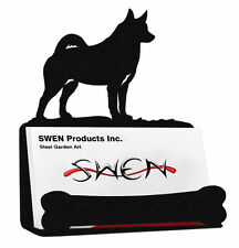 Swen Products Norwegian Elkhound Dog Black Metal Business Card Holder