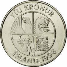 [#534666] Coin, Iceland, 10 Kronur, 1996, EF(40-45), Nickel plated steel