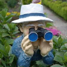 Dekofigur Opa mit Fernglas Spanner Beobachter Jäger Agent Gartenfigur Gartendeko