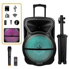 """TREXONIC 15"""" PORTABLE BLUETOOTH PA DJ SPEAKER LIGHTS FM USB/TF MIC TRIPOD STAND"""