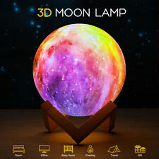 16 Colors 3D Moon Light LED Galaxy USB Rechargeable Touch Lamp With Stand Night