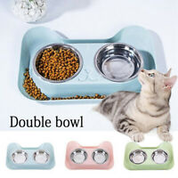 Double Pet Bowl Feeding Bowls Double Water Food Dish Puppy Feeder Dog Cat