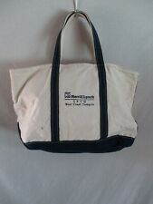 Merrill Lynch LL Bean authentic vintage white natural blue large tote bag 16 in