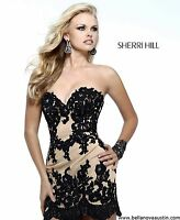21187 Sherri Hill Black Crystal Lace Party Cocktail Prom Gown Dress Size USA 8