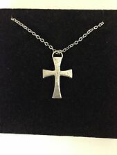 """Templar Cross R209 English Pewter on a Silver Platinum Plated Necklace 18"""""""