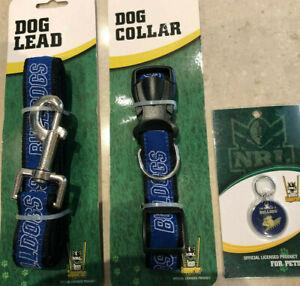 NRL Bulldogs dog collar adjustable, NRL Bulldogs dog lead & pet id tag, set, new