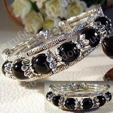 New ! Beautiful Tibet Tibetan silver ladies Black agate bracelets bangles AAA269