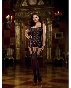 LACE UP BACK GARTER DRESS BODYSTOCKING WITH ATTACHED STOCKINGS Size Queen
