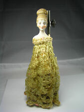 BISQUE PORCELAIN HALF-DOLL FIGURINE BUST w/ FABRIC LACE Japan ca1950s No 65 Rare