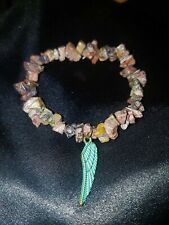 REIKI Blessed Leopard Jasper Stretchy Bracelet with Feather of Ma'at, Steampunk