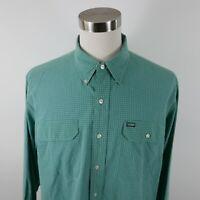 Polo Ralph Lauren Sportsman Mens LS Button Up Teal Green Plaid Dress Shirt XL
