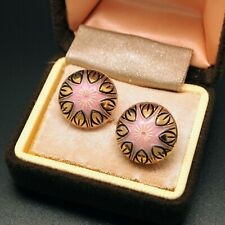 VINTAGE JEWELLERY * Pretty Pink Resin and Gold Black Foil Clip On EARRINGS