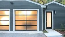 Full View [8' x 8'] Black Anodized Aluminum & Tempered Frosted Glass Garage Door