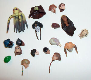 Star Wars 3.75'' Action Figure Head lot of 18 - Great for Customs Hasbro