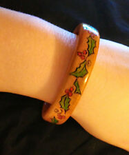 Handmade Christmas Yule Holly Wooden Bengal Bracelet Pagan Personalized Kate
