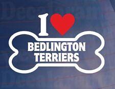I LOVE/HEART Bedlington terriers OS Voiture/Fenêtre Autocollant Idéal pour les propriétaires de chiens