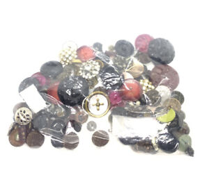 Antique & Vintage Lot Of Mixed Buttons MOP, Celluloid, Brass, Glass Ect