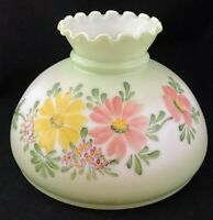 "Vintage GWTW Hurricane Lamp Shade Hand Painted Floral Milk Glass 10"" Fitter"