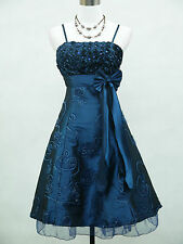 Cherlone Dark Blue Plus Size Rose Cocktail Prom Party Evening Dress 18-20