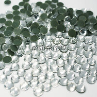 1000 HOTFIX RHINESTONES CLEAR GLASS IRON ON ROUND CRYSTAL GEMS BLING SPARKLY