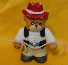 Porcelain Lucy Rigg & Me Teddy Bear Cowboy w/ Rope Lasso Figurine 1990 Red Hat