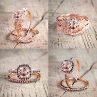 Luxurious 18K Rose Gold Filled Morganite Wedding Engagement Ring Set Sz 6-10