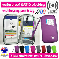 Travel Wallet Ticket Holder with RFID Blocking Cover for Passport Credit Card M1