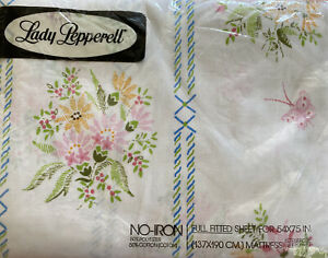 Vintage Lady Pepperell Floral Butterfly Cotton Poly FULL FITTED Sheet 1 PC NOS