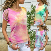 Fashion Women Short Sleeve Hollow Out Tie-Dye Casual T-Shirt Summer Tops Blouses