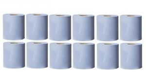 PACK 12 & 24 ROLLS 2PLY BLUE EMBOSSED PAPER ROLL WIPE HAND KITCHEN TOWEL TISSUE