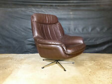 EB426 Danish Brown Vinyl Swivel Chair Vintage Retro Mid-Century Modern