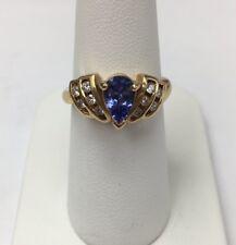 Beautiful 14k Yellow Gold Tanzanite And Diamond Ring Size 6.5