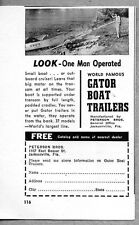 1954 Print Ad Gator Boat Trailers One Man Operated Jacksonville,FL