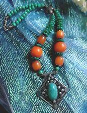 Vintage Handmade Necklace - Cabochon Pendant - Beaded Turquoise & Orange Red