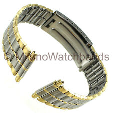 16-22mm Milano Mens Two Tone Gold and Stainless Steel Divers Clasp Watch Band