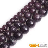 """Natural Stone Purple Lepidolite Round Beads For Jewelry Making 15"""" 6mm 8mm 10mm"""