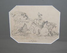 French 19th Century Architect Decoration Drawing Paper Neptune
