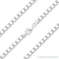 4mm Classic Box Link Italian Chain Necklace in Solid .925 Italy Sterling Silver