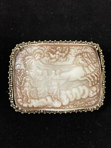 NEW GUCCI BROOCH CAMEO Pin Brown Ivory rectangle