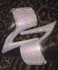 Pleaser 8 Inch 1 Strap Crystal Rhinestone Stripper Exotic Dancer Heels Size 7.5