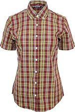 Relco Short Sleeve Ladies Check Shirt Lss5 - Burgundy - 60s Button Down Mod Skin 16