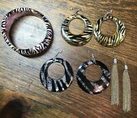 Lot of 3 80s VTG Large Earrings Dangle Hoop Zebra Print 1 Bangle Bracelet Retro